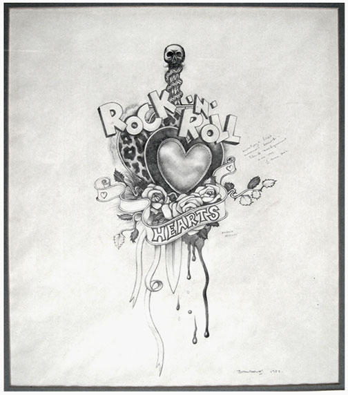 The Rock'n'Roll Hearts drawing was the first in a series of prints where the